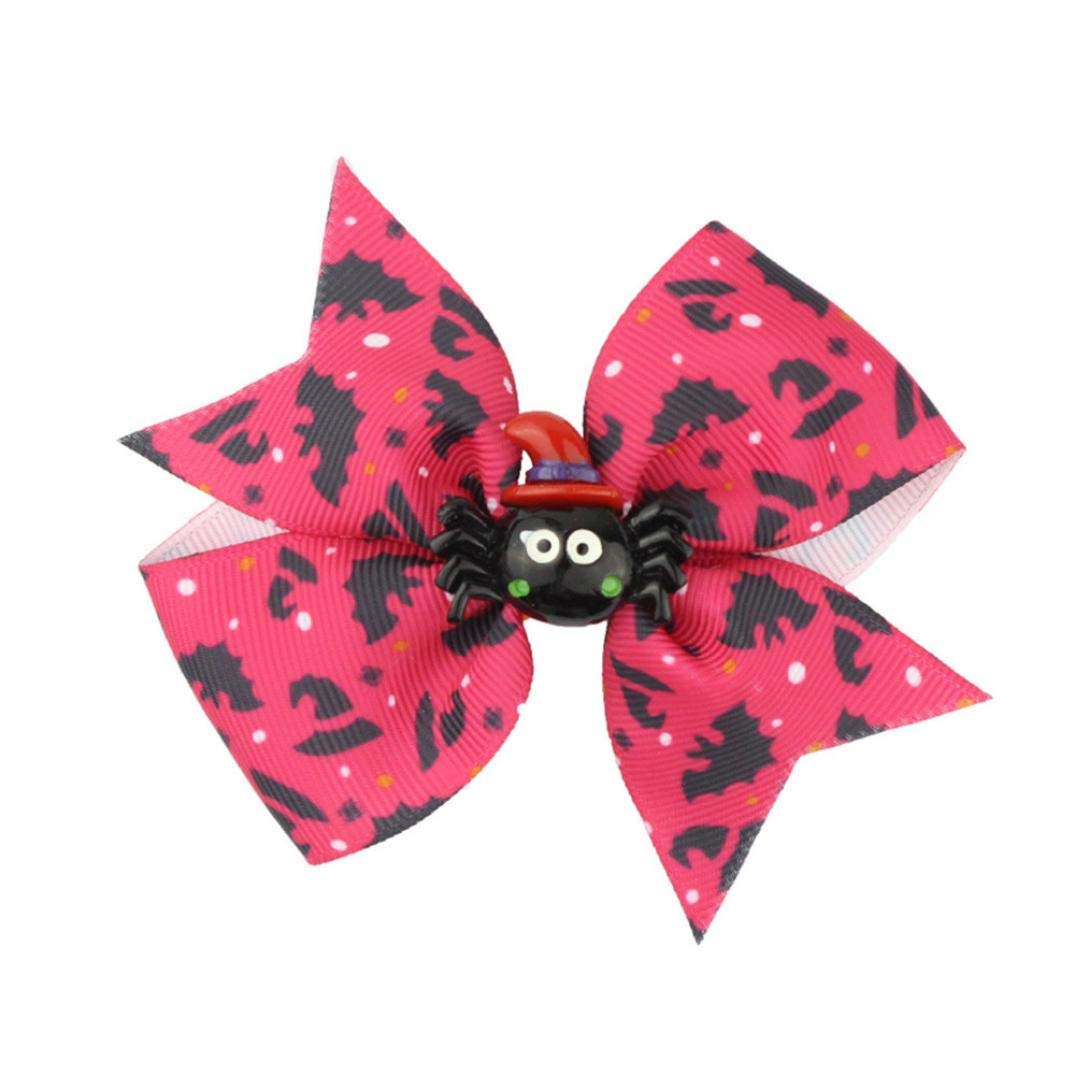 Gbell Fun Trick Halloween Pumpkin Spider Bowknot Hairpin Hair Rope Accessories Baby Toddler Girls Infant Kids Scary Halloween Costumes Decorations,3.9''X3.1'' (F)