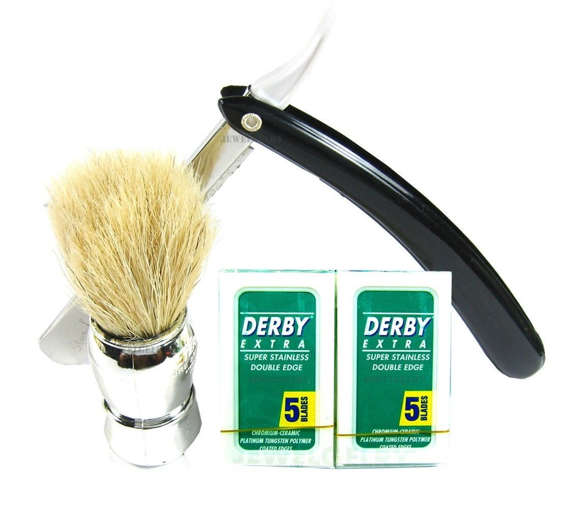 76a0f1ee9c7 Get Quotations · Straight Razor Blades DERBY Shaving Kit Shave Brush Silver DERBY  EXTRA 10 Blades Plus Black
