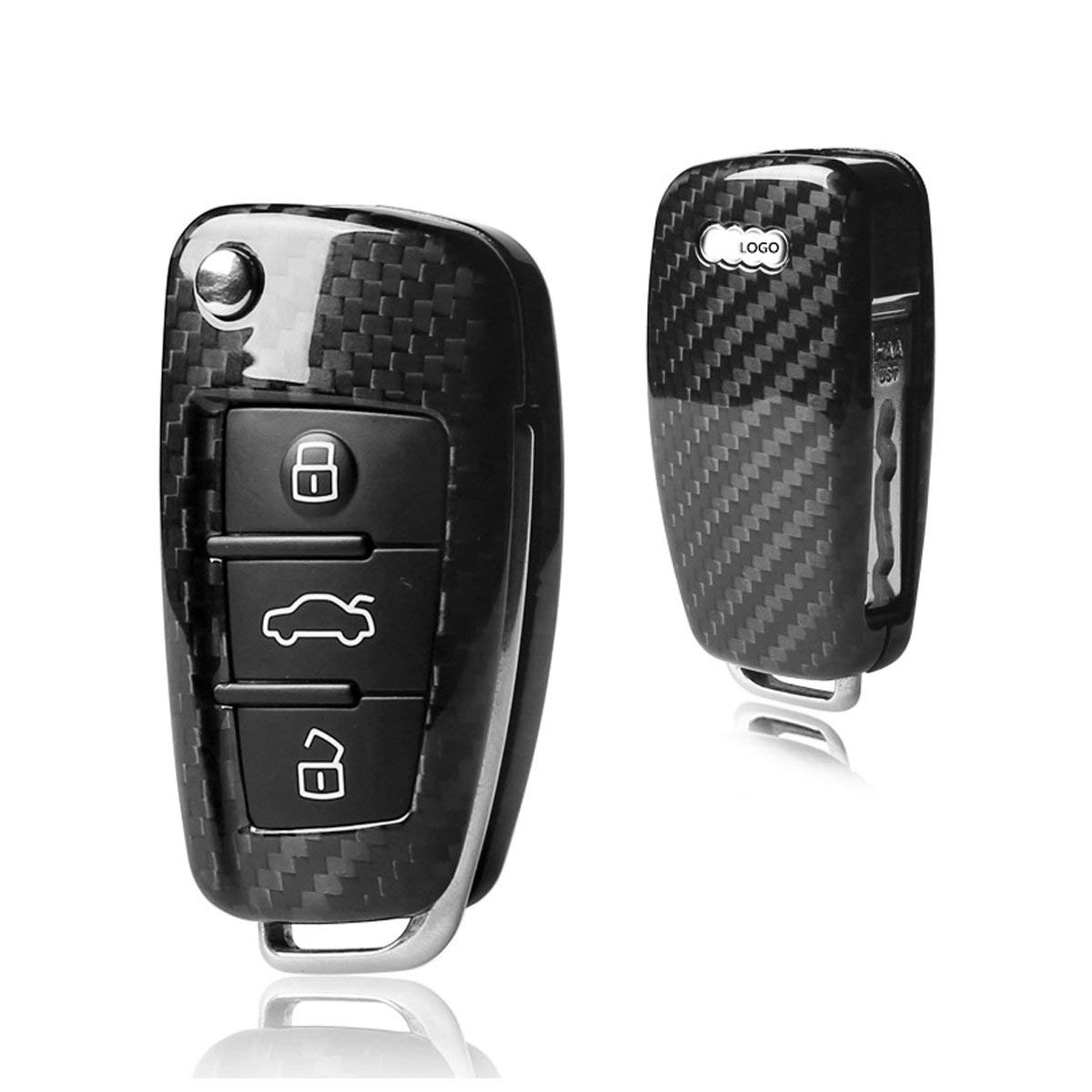 MODIPIM Keyless Entry Remote Cover Carbon Fiber Key Case Fob Holder Shell For Audi Q5 Q7 A4 A6 A1 A3 3-Buttons Flip Key Color Black