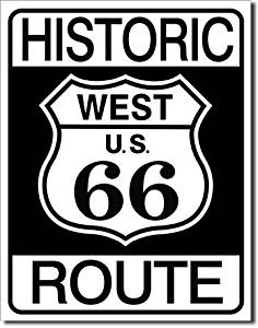 """ART/ARTWORK - Licensed Collectibles - CLASSIC AMERICAN HIGHWAYS - SCENIC HIGHWAYS - LANDMARK HIGHWAYS - ROAD SIGNS [35421036] - """"HISTORIC ROUTE 66 - ROAD SIGN"""" - Artwork/Sign Is Paint On Metal [TSFD]"""