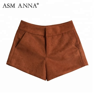 ASM ANNA 2018 Autumn New Women Clothing Simple Good Model Suede Women Shorts in Brown