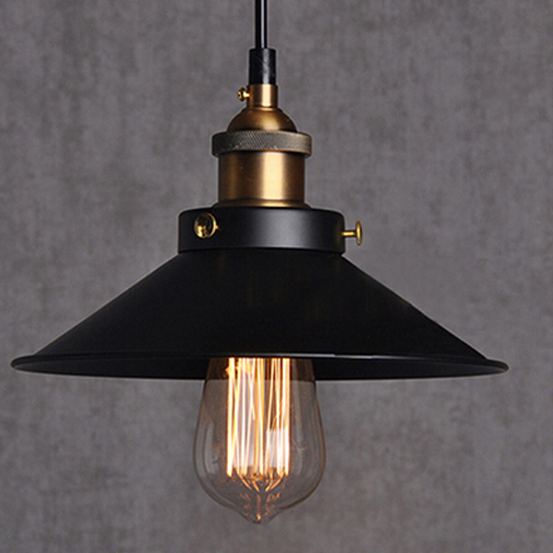 Bar Light Fixtures: Free-shipping-Dia-22cm-copper-E27-base-black-light-110V-or