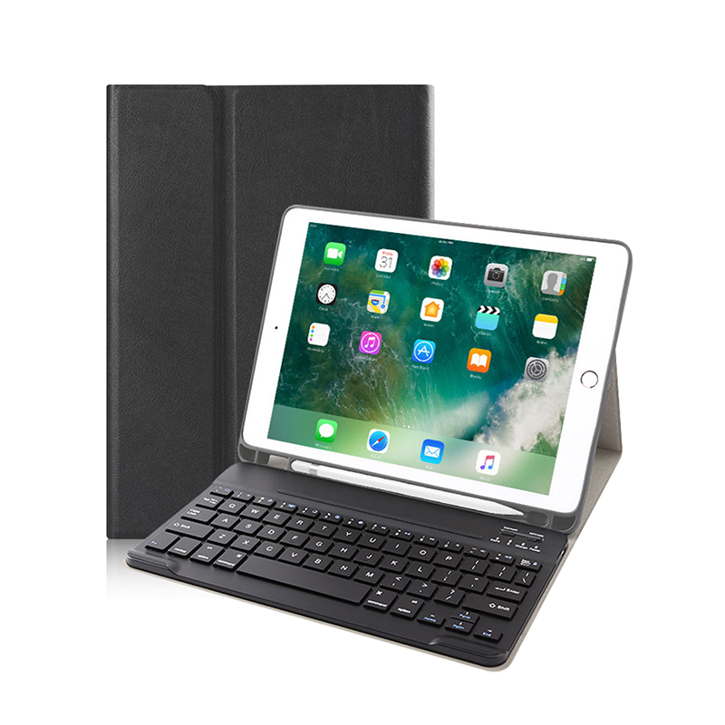For 2018 New iPad Pro 11 inch Case with Pencil Holder,  For iPad Pro 11 Inch Keyboard Case Tablet Shell Leather