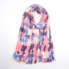 Most Popular spring summer pink color oversized viscose women vintage printed turkish hijab scarf