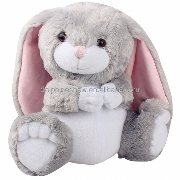 Fashion 2018 Easter Decoration Grey Rabbit Plush Toy Custom Cute Stuffed Animal Soft Plush Easter Bunny