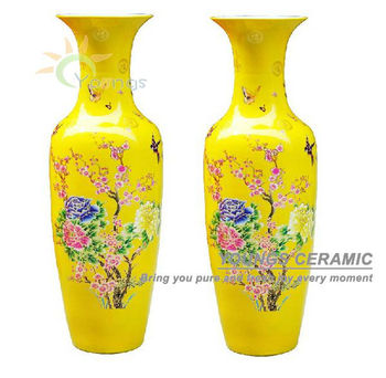 Chinese Ceramic Yellow Colour Large Decorative Floor Vases From 48inch To 88 Inches High For Whole