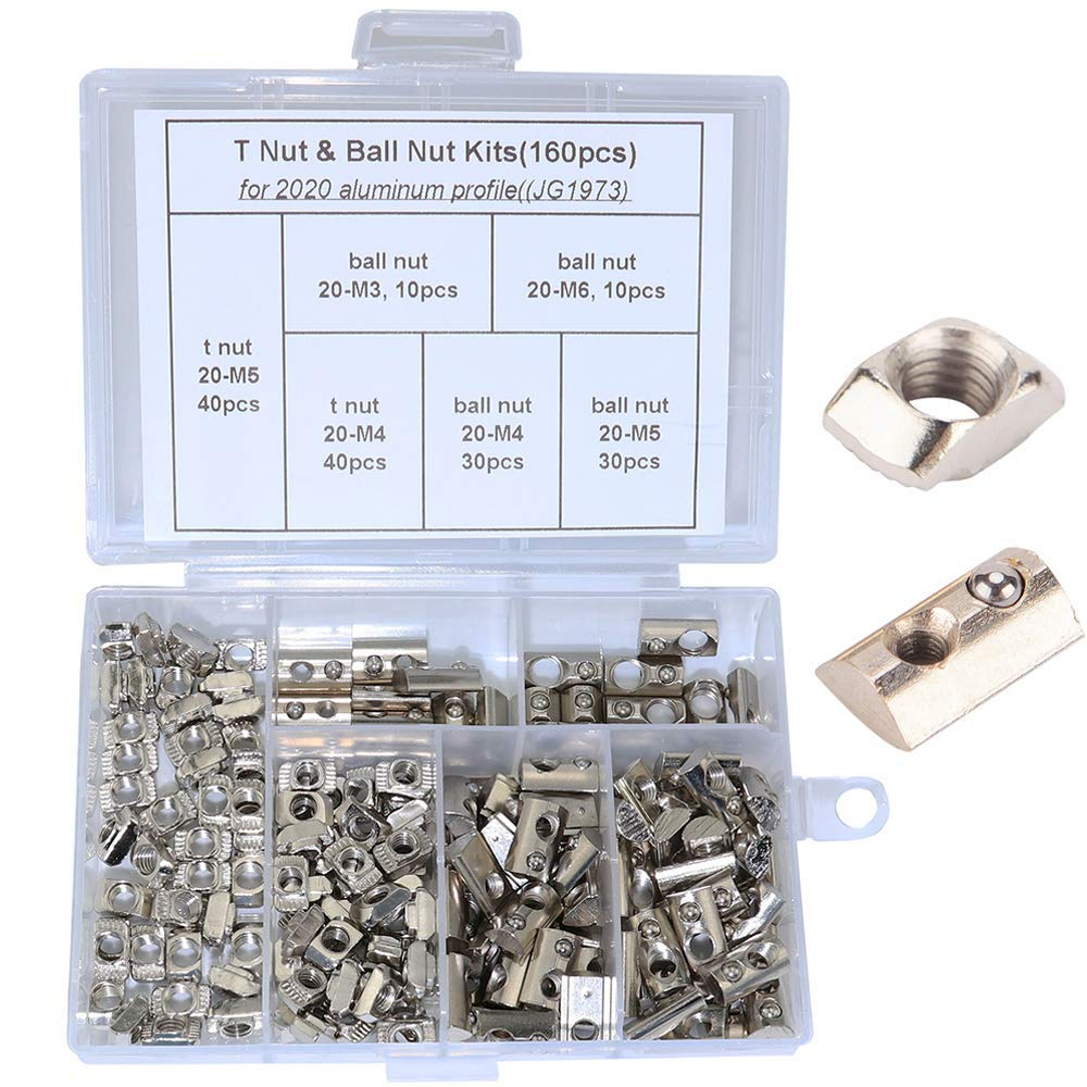 Boeray 160pcs M3 M4 M5 M6 Spring Ball Nut and M4 M5 T Nut Assortment Kit for 2020 Aluminum Extrusion Profile