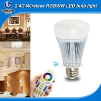 Thousands of colors E27 8W RGB+CCT wifi iphone control led mi.light smart light bulb 550 lumens with 2.4G RF remote controller