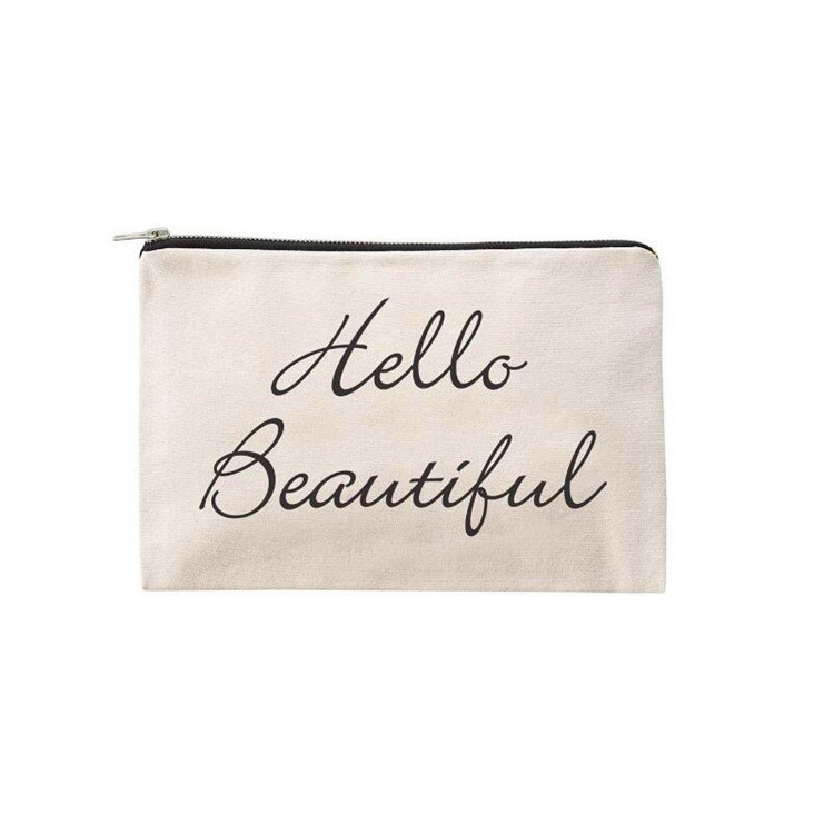 Fashion printing canvas zipper pouch cotton travel makeup bag small bag with zipper