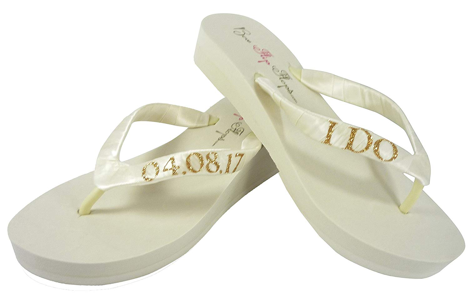 5bbd812e6ca3 Get Quotations · Low Heel Ivory   Gold or Silver many Colors Glitter I DO Wedding  Wedge Sandals