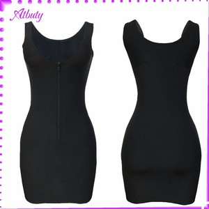 Fashion Selling As Hotcakes Women Black U Neck Bodycon Middle Zipper slim body shaper dress