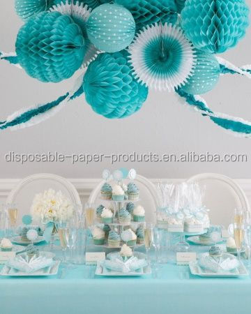 Ideas Adornos Baby Shower.Blue Kids Party Party Ideas Tissue Paper Pom Poms Balls Paper Fans Crepe Streamer Hanging Baby Shower Decorations Buy Blue Kids Party Party