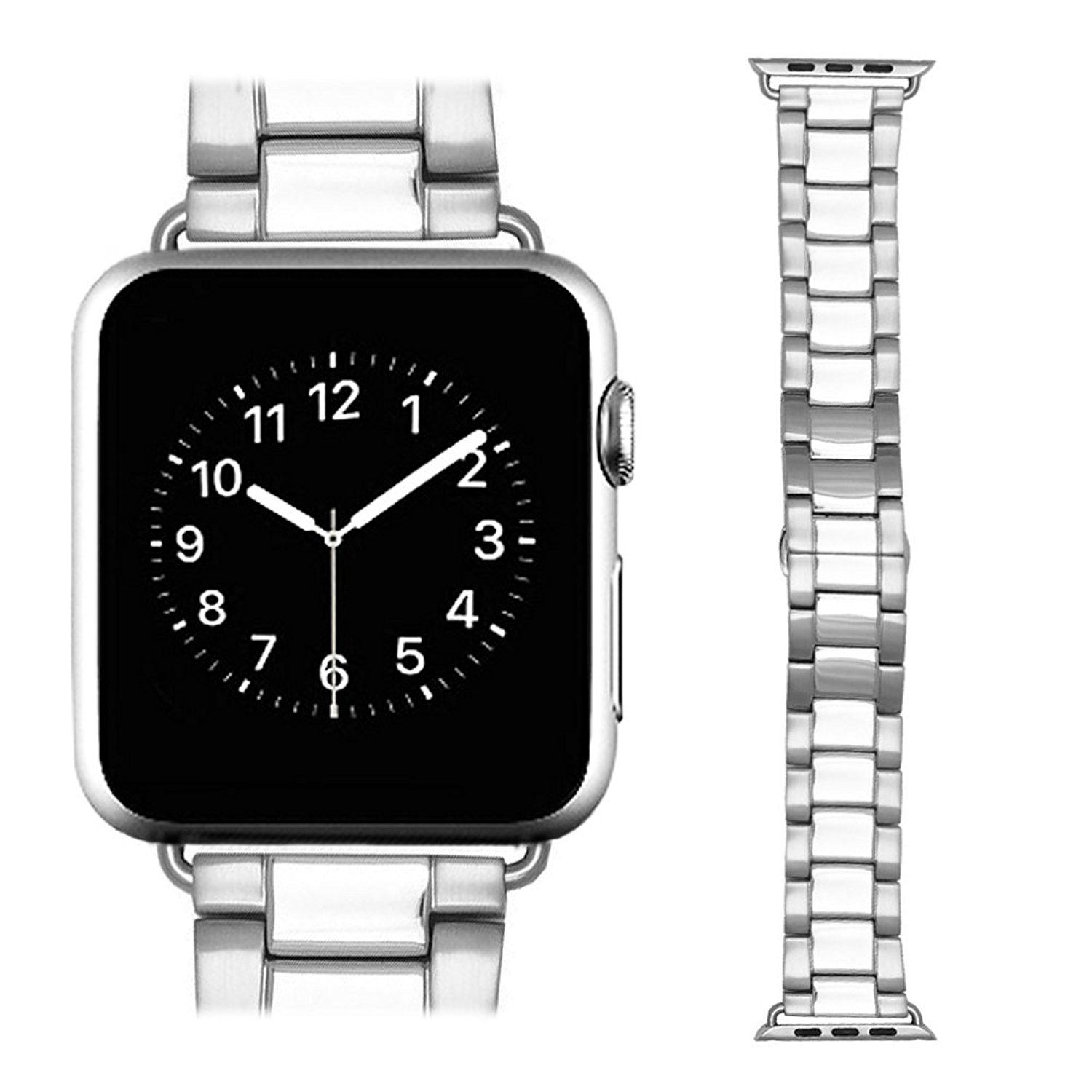 AWSTECH New 38mm Stainless Steel Replacement Smart Watch Band Wrist Strap Bracelet with Butterfly Buckle Clasp for Apple Watch All Models Silver