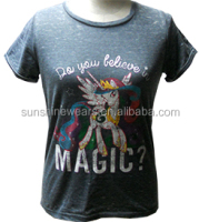 Ladies' printed T-shirts garment snow washed
