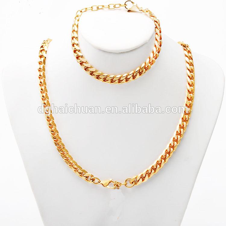 중국 공장 패션 스테인레스 스틸 목걸이 골드 도금 보석 도매