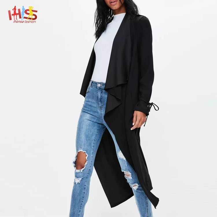 Women winter spring tall exclusive black waterfall long jeans jacket