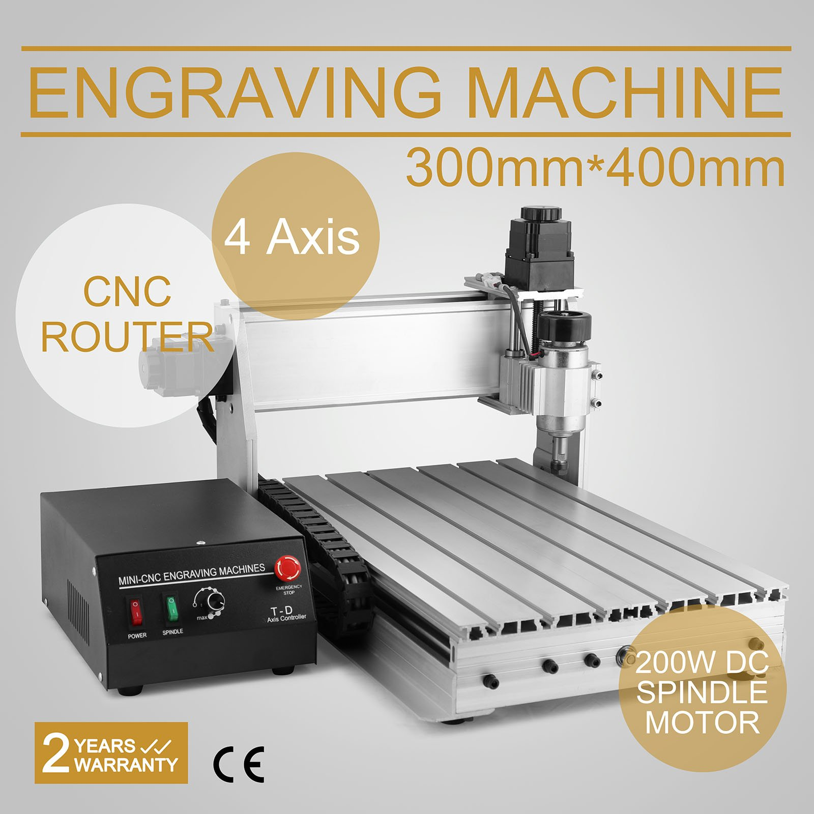 CNCShop CNC Router CNC Engraver Engraving Machine Cutting Machine 3040T 4th Axis Carving Tools Artwork Milling Woodworking