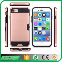 For iPhone7 Case Brushed Metal Texture Wallet Cover Protective Slim Shell Hybrid Armor shockproof with Card Holder Slot