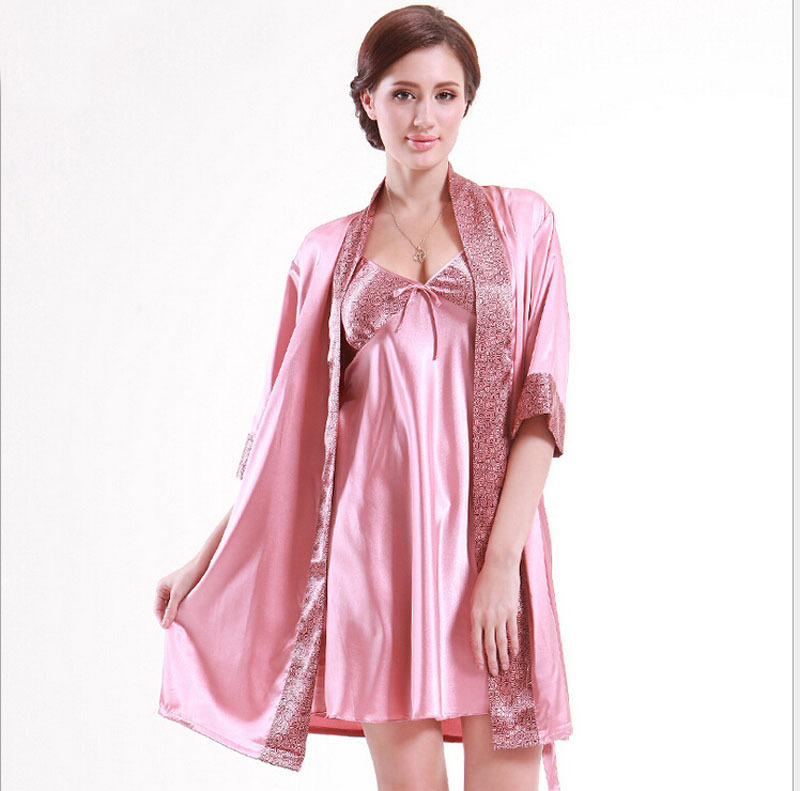 b09c57dbeb Get Quotations · 2 Pieces Brief Night-robe Dress Elegant Pajamas V-neck  Gallus Female Nightgown Silk