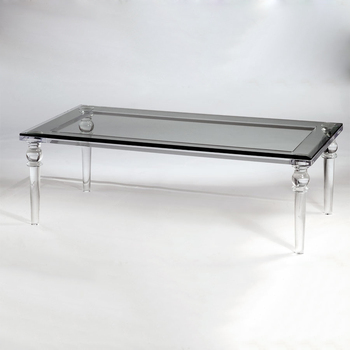 New Modern Transparency Acrylic Glass Top Stone Base Dining Table Made In  China