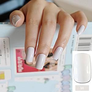 24pcs Flat Curved False Nails Pure White Nail Art Acrylic Tips Press On Full