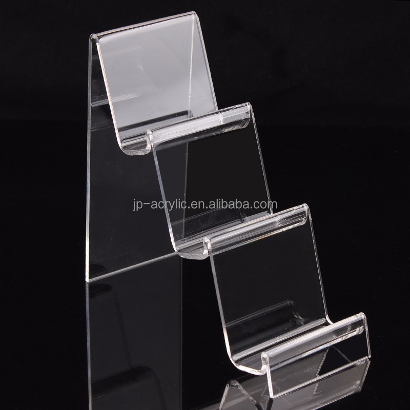 3 4 tier clear acrylic wallet display step stand holder for shop