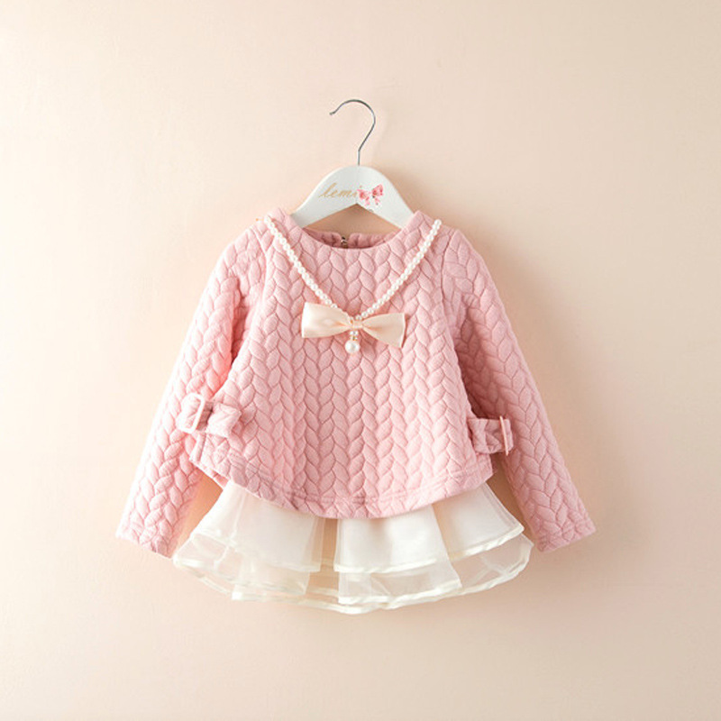 Fashion 2015 Spring Autumn New Girls Cotton Long-sleeved Knitting Dress Thickening Baby Girl Princess Dress Winter Kids Clothes