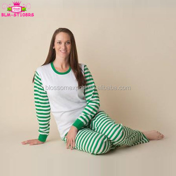 wholesale adults christmas pajamas 100 cotton green and white striped blank christmas pajamas women - Christmas Pajamas Women