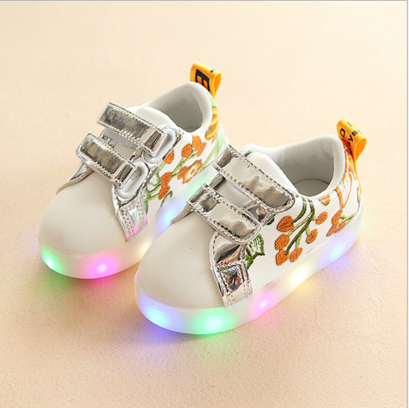 New Style Children Flower Sneakers Spring Embroidery Shoes Kids Shoes
