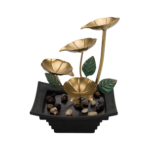 Home  fountain water furnishing decoration metal flower and leaf water fountain