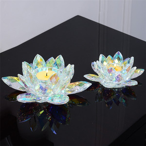 Factory high quality Crystal candlestick gift crystal lotus candle holder for church