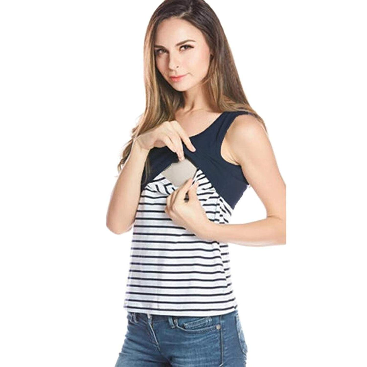 4f3c7c7059259 Get Quotations · Breastfeeding Blouse,Women Maternity Nursing Tank Tops  Sleeveless Striped Breastfeeding Clothes