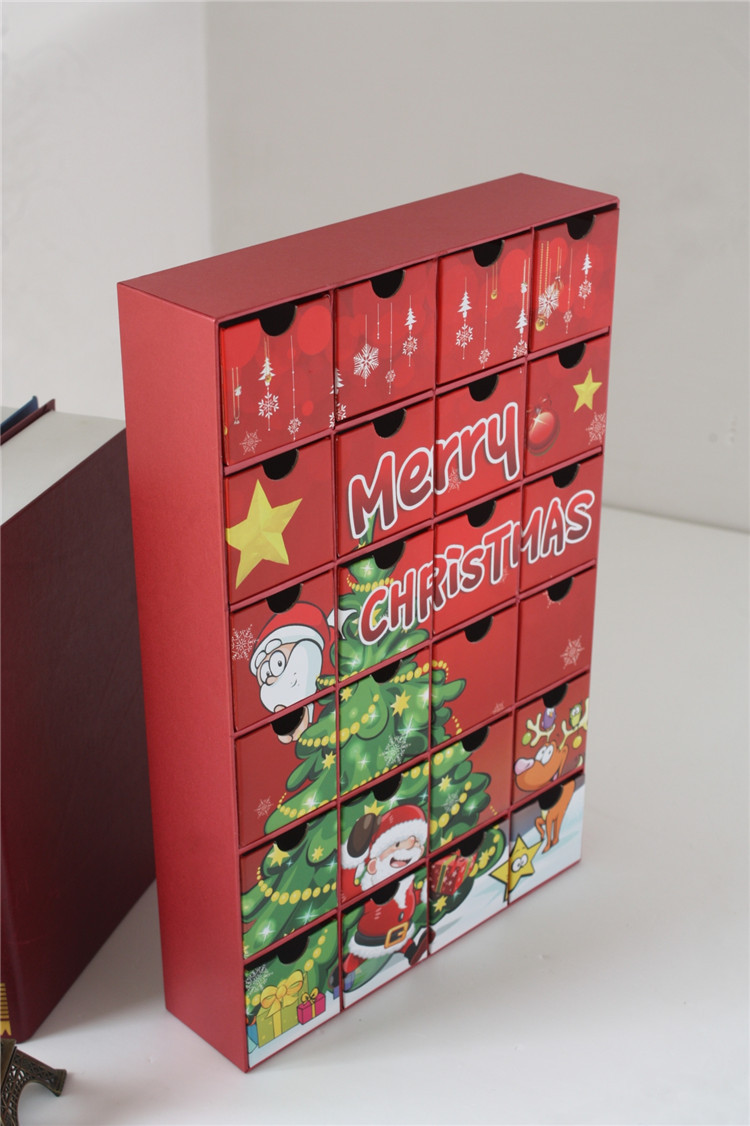 Luxury Christmas Chocolate Package Box Cardboard Drawers Countdown Advent Calendar Boxes