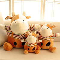 Cute stuffed wholesale super soft plush animal toy milk cow
