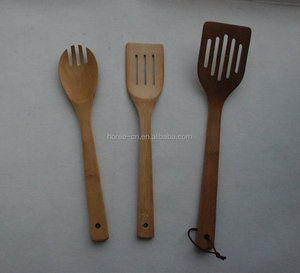 34 cm bended shape bamboo salad slotted spoon& chef spatula spoon