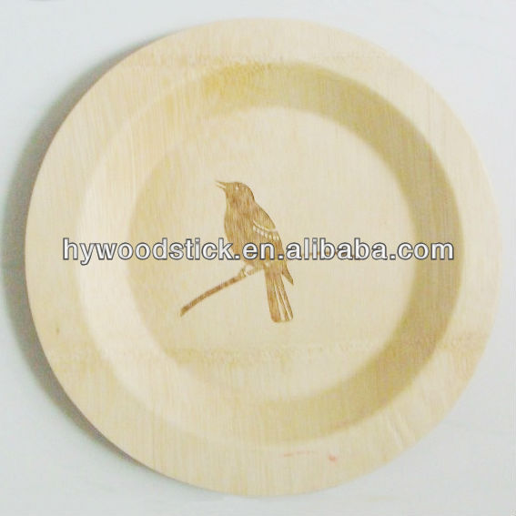 Customized Carved Wood Bamboo Plate