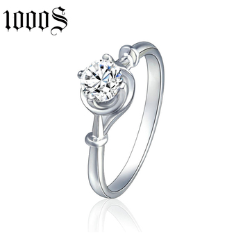 fashion 925 sterling silver engagement ring with cubic zircon stone