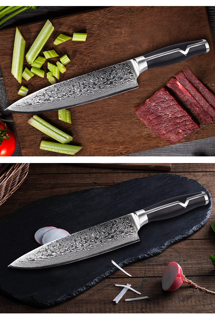 2020 New Arrival Japanese VG-10 AUS10 Kitchen 8 Inch Damascus Steel 67 Layers Damascus Chef Knife