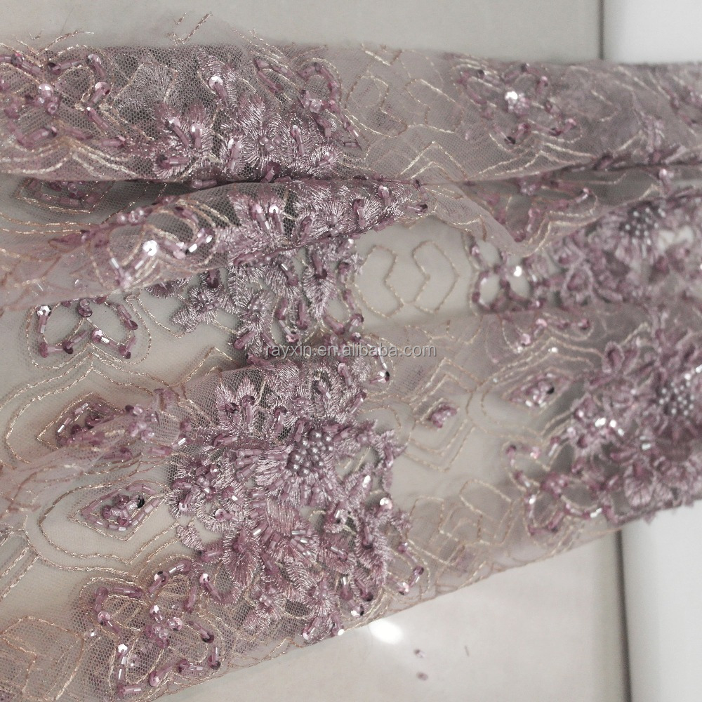 Hand make RX18266 crystal 3d beaded embroidery lace fabric with heavy beads