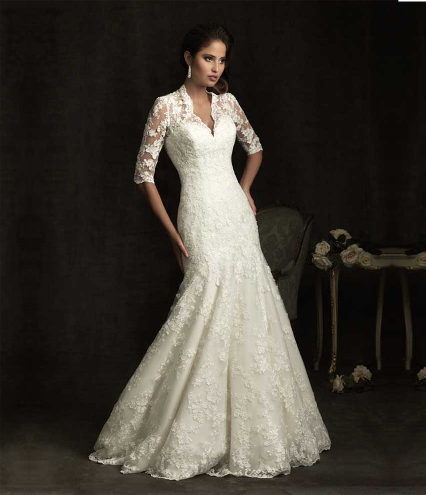 Vintage Style Lace Wedding Dresses: Elegant Sheer Short Sleeve Lace Mermaid Wedding Dress 2015