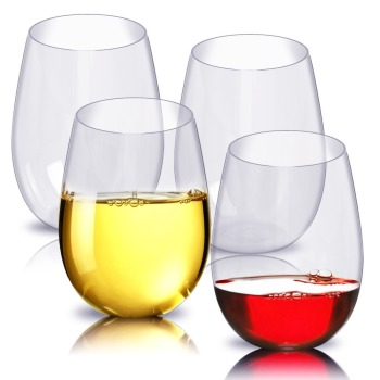 Promo 100% Tritan Stemless Dishwasher safe Plastic Wine Glasses