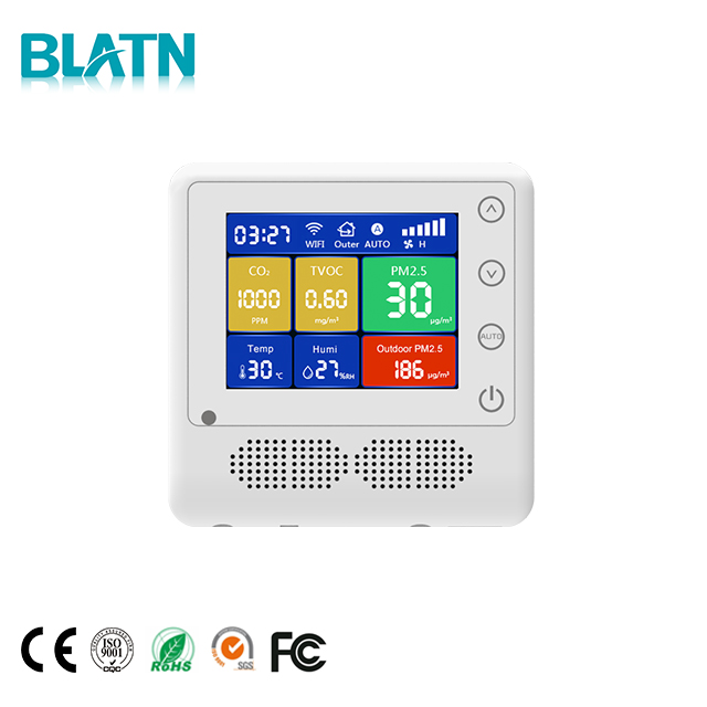 Wall Embedded carbon dioxide detector CO2 meter VOC monitor PM2.5 Air Quality Detector