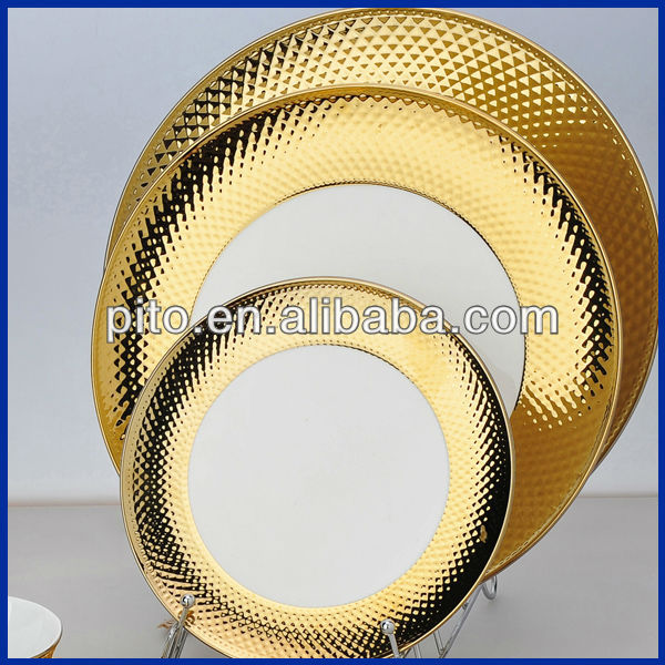 P&T porcelain factory Gold plated plates dishes high quality dishes