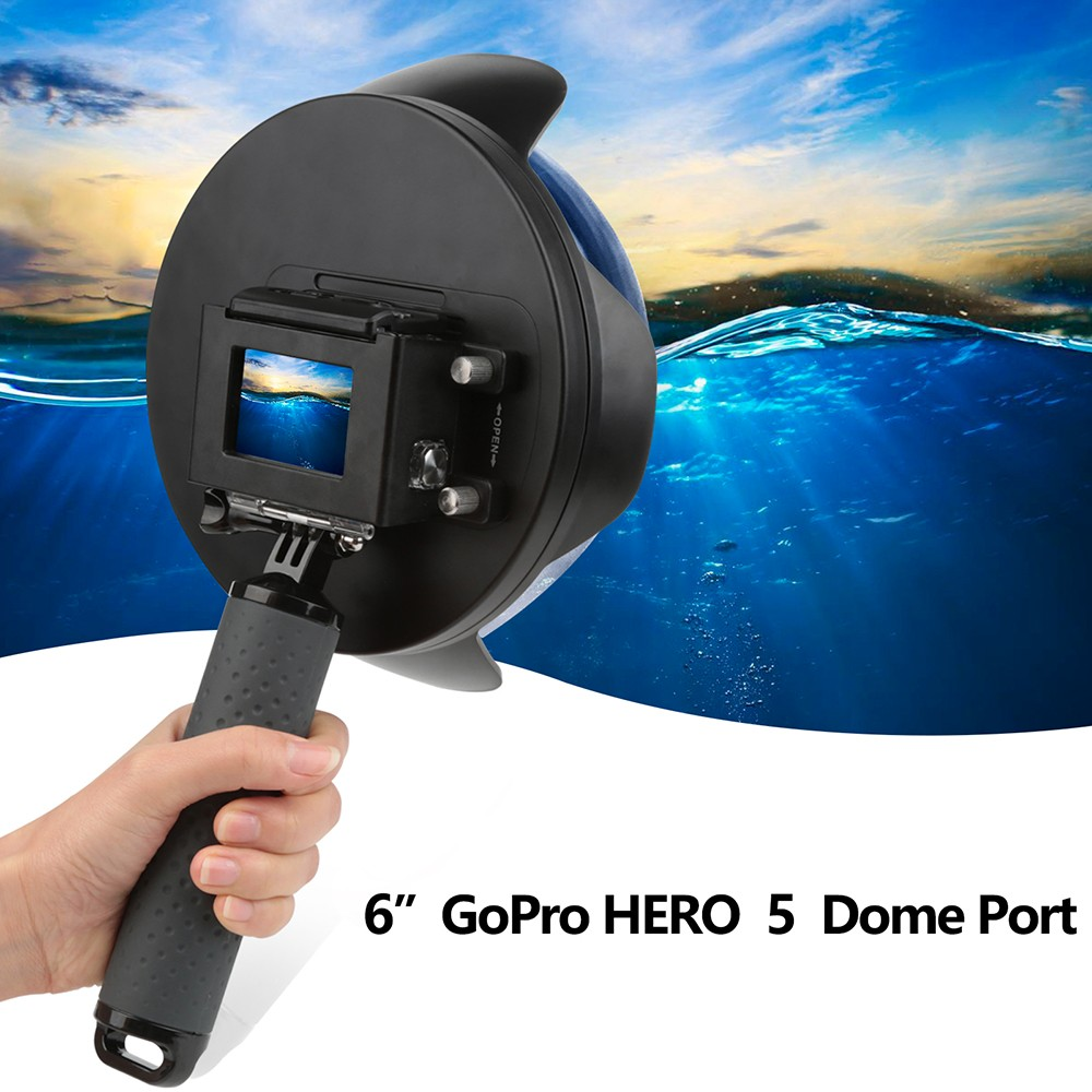 "6"" Split Photo Dome Port for GoPro Hero 5 Black Action Cameras with Lens Hood"