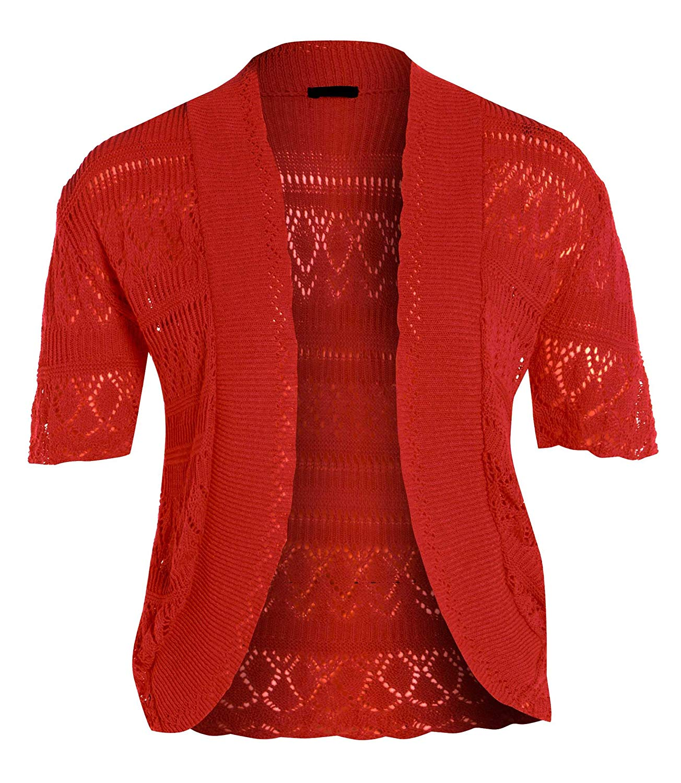 dd80b6d3838fc8 ... Short Sleeve Crochet Shrug. Get Quotations · New Womens Crochet Knit  Cardigans Fishnet Bolero Tops