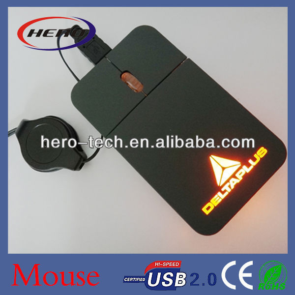 Super flat optical mouse with retractable cale
