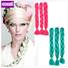 cheap nice pink and green super jumbo hair braid for girl's' hair extensions