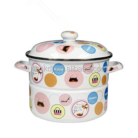 steamer with full decal catoon enamel coating Double Boilers
