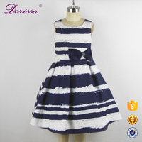 Stripe NEW DESIGN Birthday Dresses Kids Party Jacquard Gown 4-10 Wedding Hot Sale Frock Design For Baby Girls Children Clothes