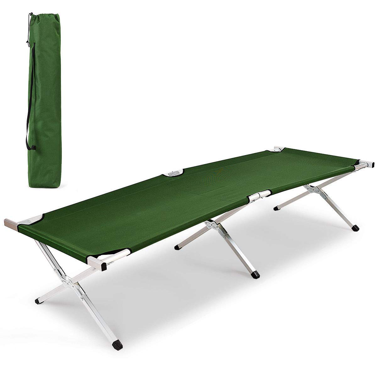 lunanice Aluminum Folding Camping Bed Outdoor Portable Military Cot Hiking Travel W/Bag